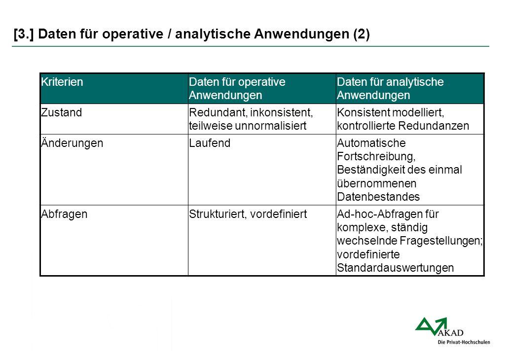 [3.] Daten für operative / analytische Anwendungen (2)